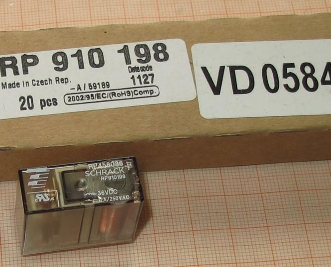RP910198 Schrack  RP458036, 1 Öffner, 12A, 250V, 36V Spule